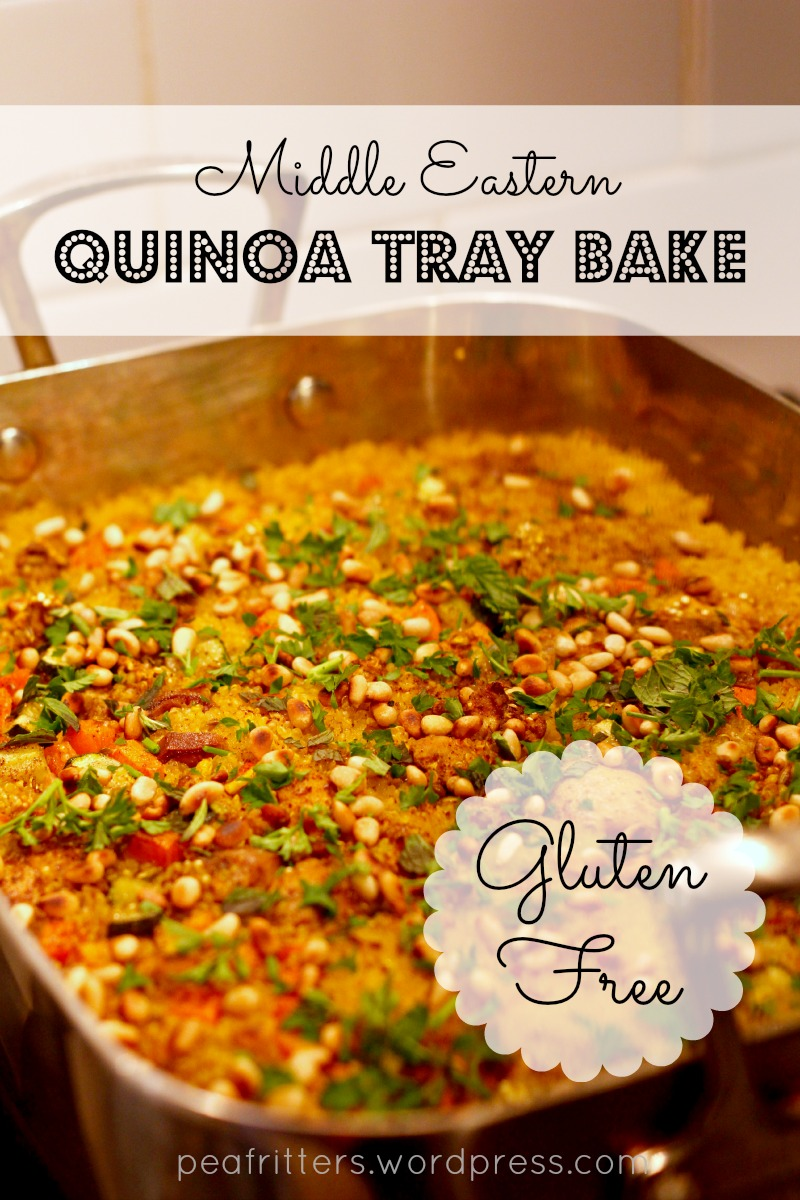 A gluten free one-pot meal, this middle eastern quinoa tray bake is loaded with juicy chicken, rich middle eastern spices, and nutrient-packed quinoa.
