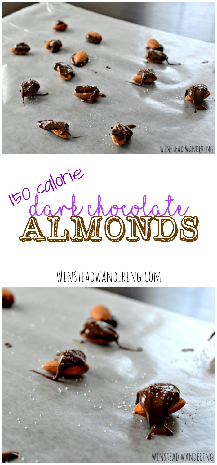 Dark chocolate chips are melted and drizzled over whole almonds, and then sprinkled with sea salt, to make these indulgent yet healthy low calorie chocolate snack.