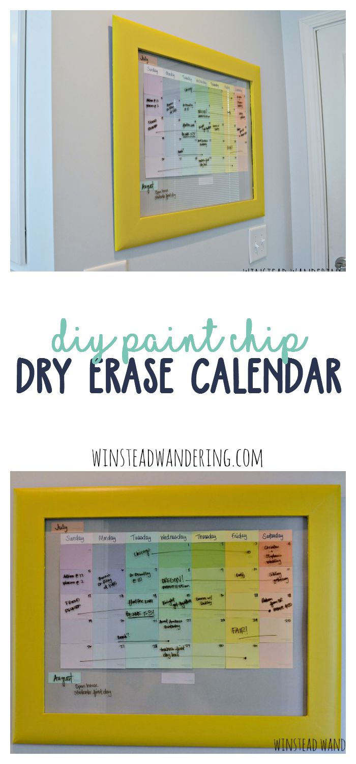 DIY Dry Erase Calendar: cheap poster frame, paint chips, and a dry-erase marker! Can change out the paint chips for seasons/holidays. Find this Pin and more on Home Decoration Ideas by Nicole Branten.
