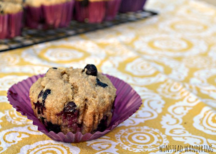 Healthy whole wheat blueberry banana muffins are lightly sweetened and packed with moist bananas, sweet applesauce, and juicy blueberries.