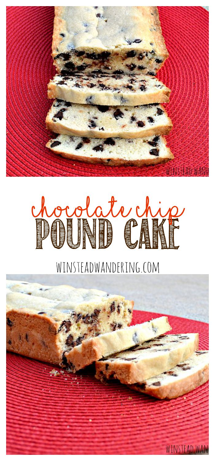 This chocolate chip pound cake is a moist, buttery cake, flecked with chocolate chips and baked to perfection.