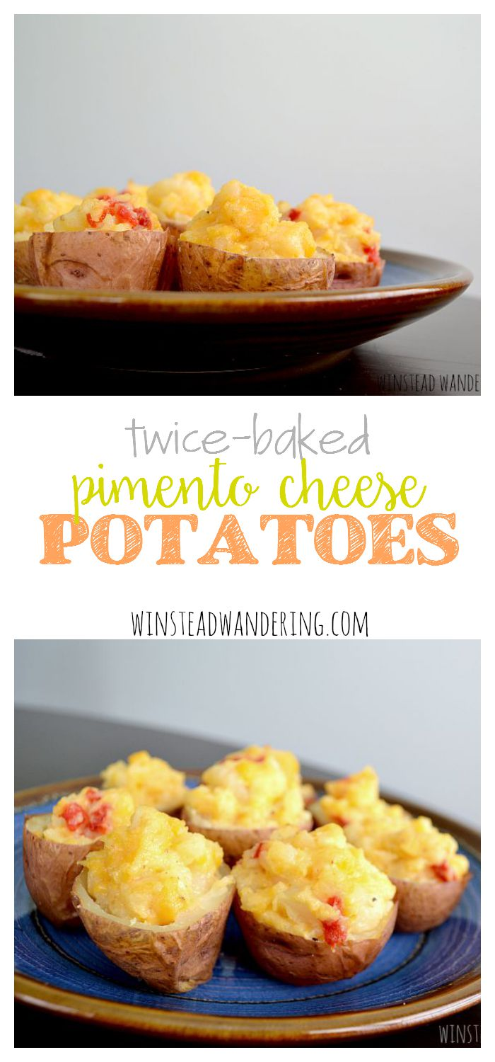 Twice-baked pimento cheese potatoes are tender cheese-stuffed potatoes, baked until warm and melted. With only two ingredients, they're as easy as they are flavorful.