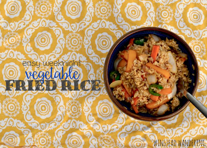 Easy weeknight vegetable fried rice comes together in less than 15 minutes, with crisp veggies, tender rice, and a perfect balance of seasonings.