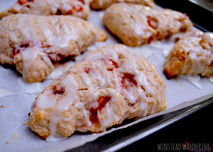 These glazed strawberry lime scones are so light and fluffy! The strawberries baked inside are sweet and juicy, and the lime glaze is the perfect balance of tart and sweet.