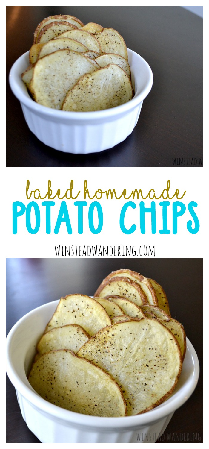 Thinly-sliced potatoes, seasoned however you'd like, are baked until tender and crispy. It doesn't get much easier than these baked homemade potato chips.