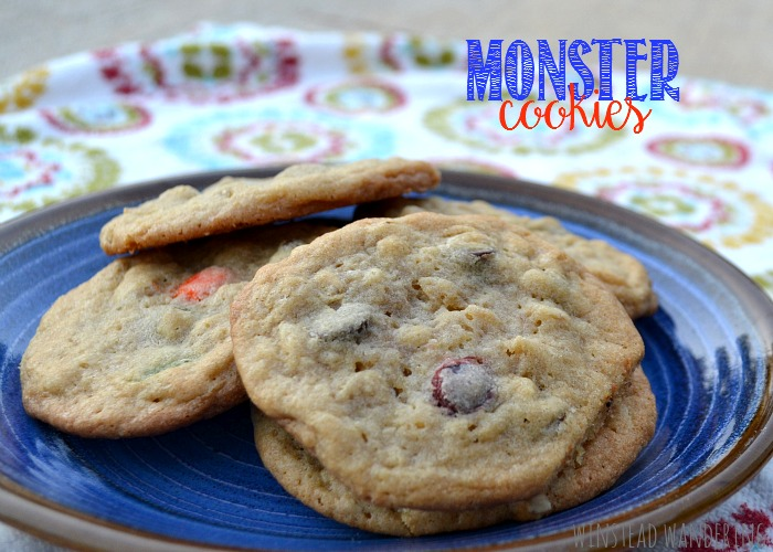 Monster cookies are chewy cookies packed with chocolate chips, oats, peanut butter, and M&Ms candies.