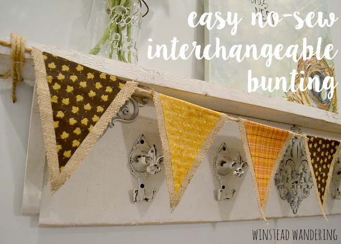 With just a few supplies and a little bit of time, you can make an easy no-sew interchangeable bunting. It's adorable for any holiday or season.