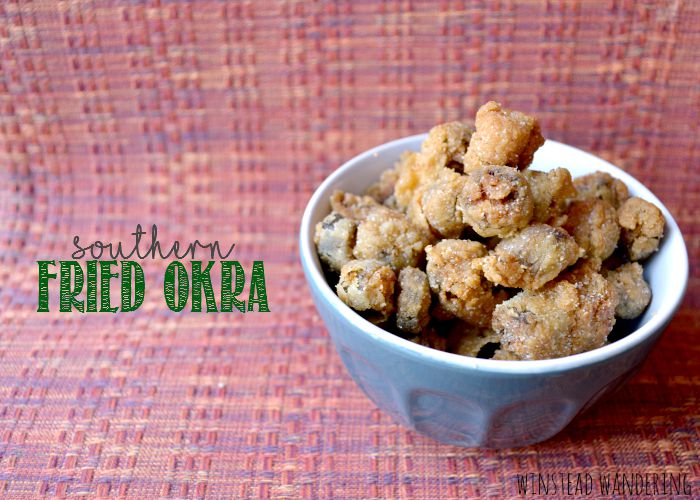 Tender pieces of okra are breaded and fried until fluffy and crunchy for traditional southern fried okra.