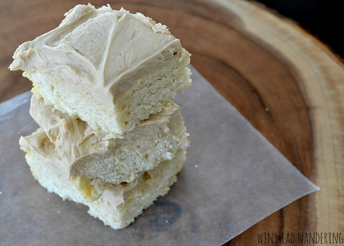 Forget the hassle of refrigerating and rolling out dough; make these maple-frosted sugar cookie bars instead. The bars are a thick layer of soft and sweet sugar cookie, topped with a rich and unique maple frosting.