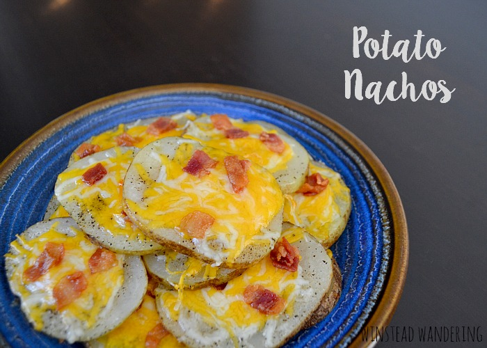 Potato nachos are just as awesome as they sound: thinly-sliced potatoes are cooked until tender, topped with bacon and cheese, and baked until hot and melted.