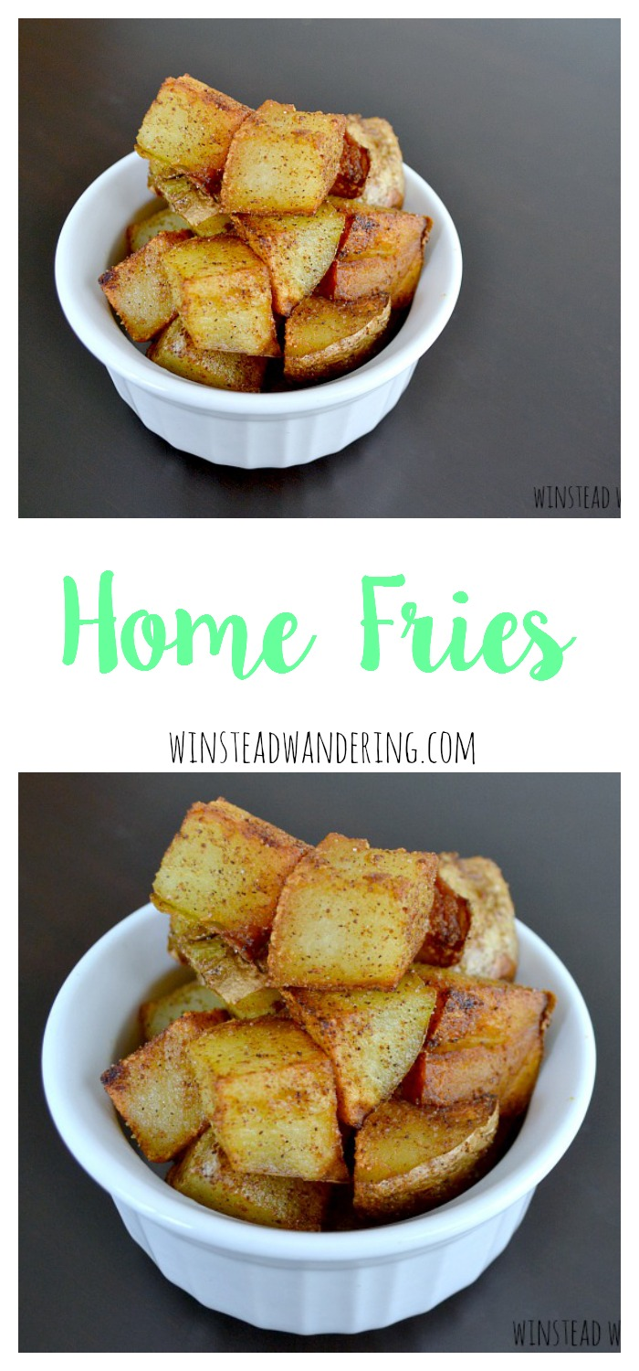 A breakfast favorite, home fries are potato chunks cooked in a little bit of oil and plenty of seasoned salt. This yummy classic couldn't be easier.