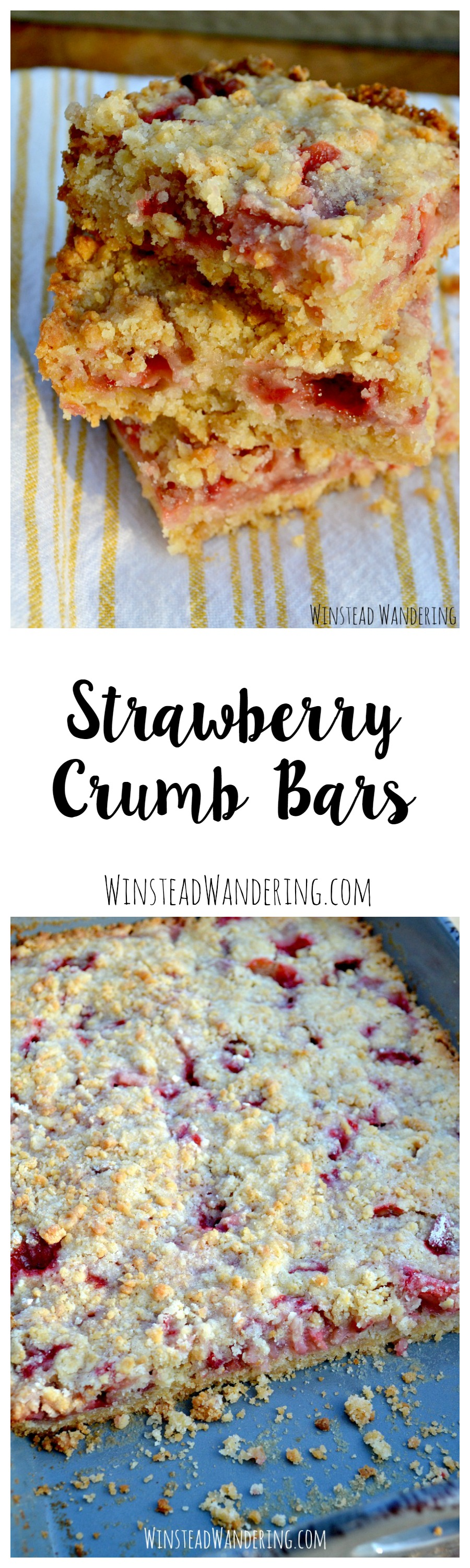 Strawberry crumb bars have a buttery crust, a layer of fresh berries, and a sweet topping that bakes up golden brown for the slightest hint of crunch.