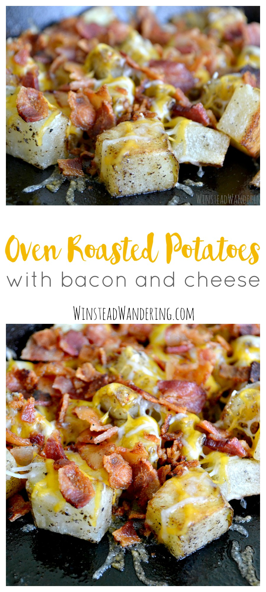 Oven roasted potatoes with bacon and cheese are the perfect quick, easy, and delightfully delicious side dish for any time of day.