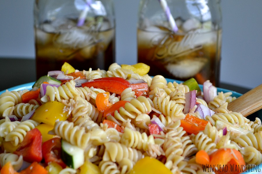All your favorite summer flavors come together in one easy, hearty dish: pasta salad with sweet tea vinaigrette.