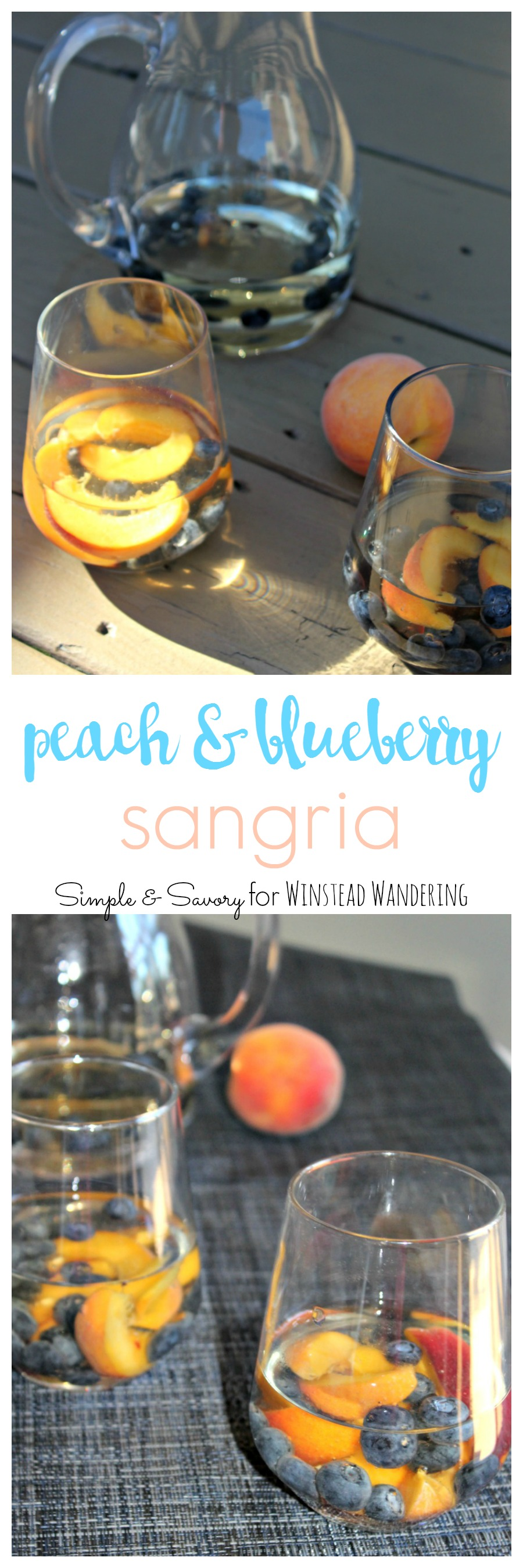 Using white wine instead of red, this peach and blueberry sangria is a refreshing new twist on an old summer favorite.