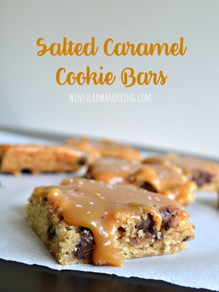 A chewy, flavorful store-bought cookie mix becomes salted caramel cookie bars with the addition of a rich and easy homemade caramel topping.