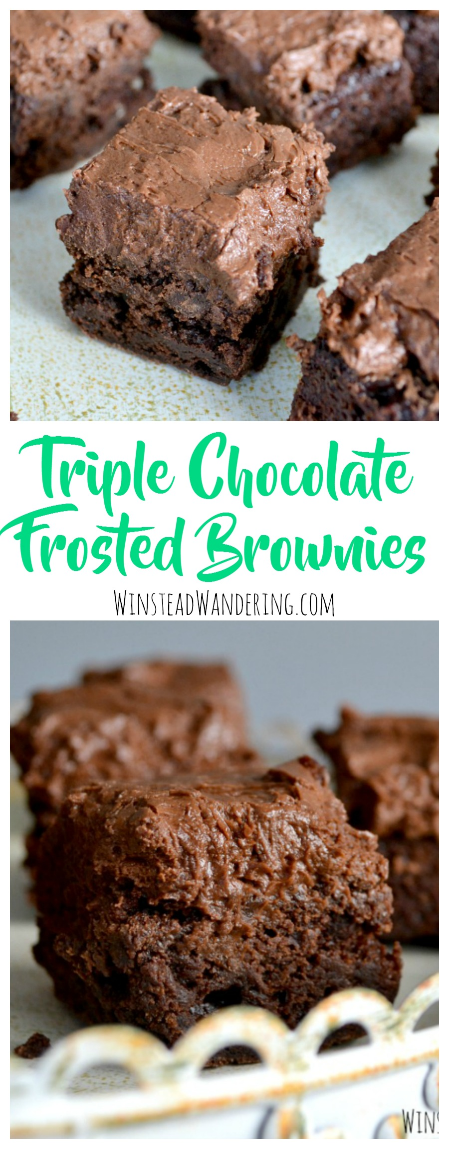 A rich brownie recipe is packed with chocolate chips and smothered in a fluffy homemade buttercream to make mouthwatering triple chocolate frosted brownies.