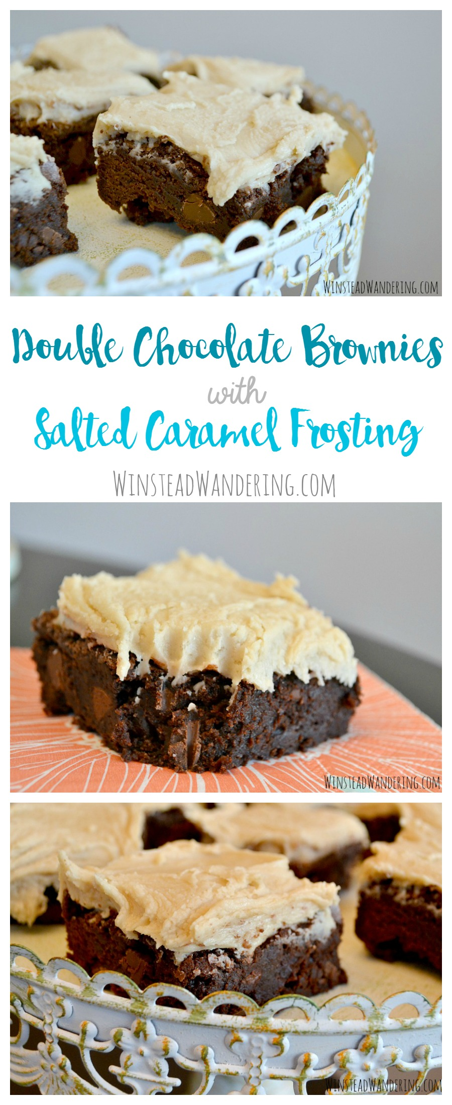 Double chocolate brownies with salted caramel frosting are a rich, decadent homemade treat that's perfect for an indulgent dessert or weekend gathering.