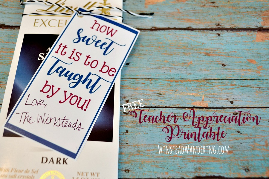 Snag a free teacher appreciation printable in a bunch of fun colors. Find inexpensive gift ideas from a teacher, too!