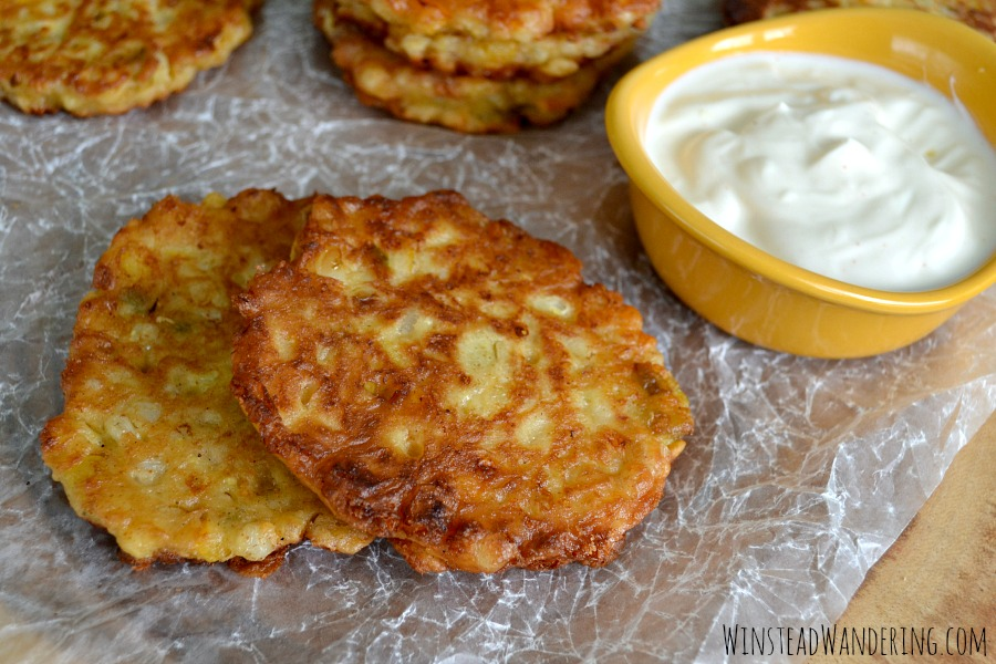 Southwestern Corn Cakes with Jalapeño Lime Cream offer perfect lightly-fried bites of sweet corn, cheese, and peppers topped with a slightly-spicy citrus sour cream.
