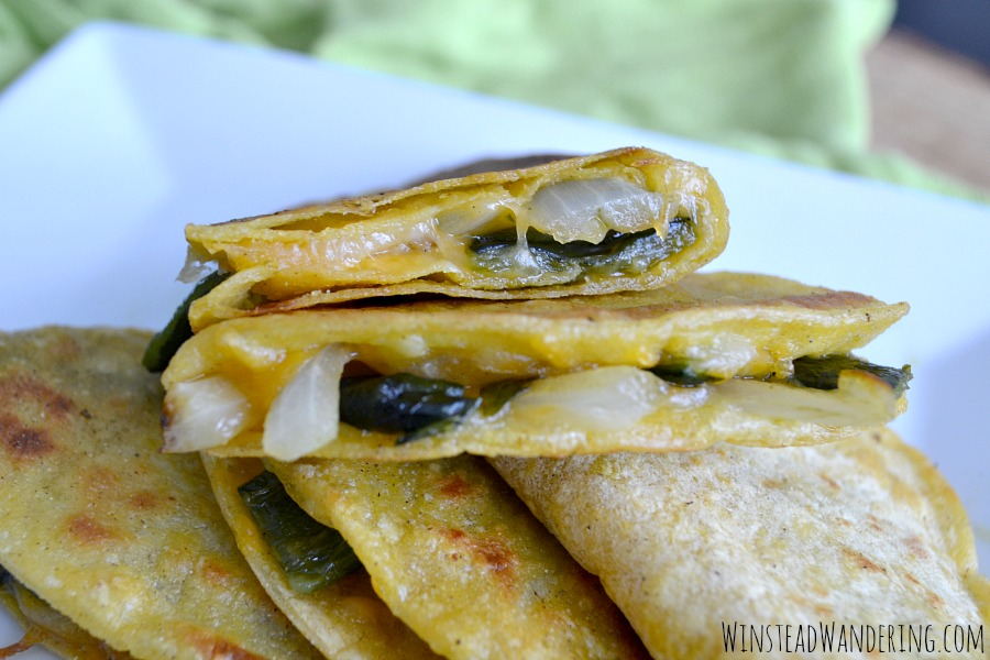 They be simple to make and require only five ingredients, but these Roasted Poblano and Onion Quesadillas are full of mellow vegetables and just the right amount of melted cheese.