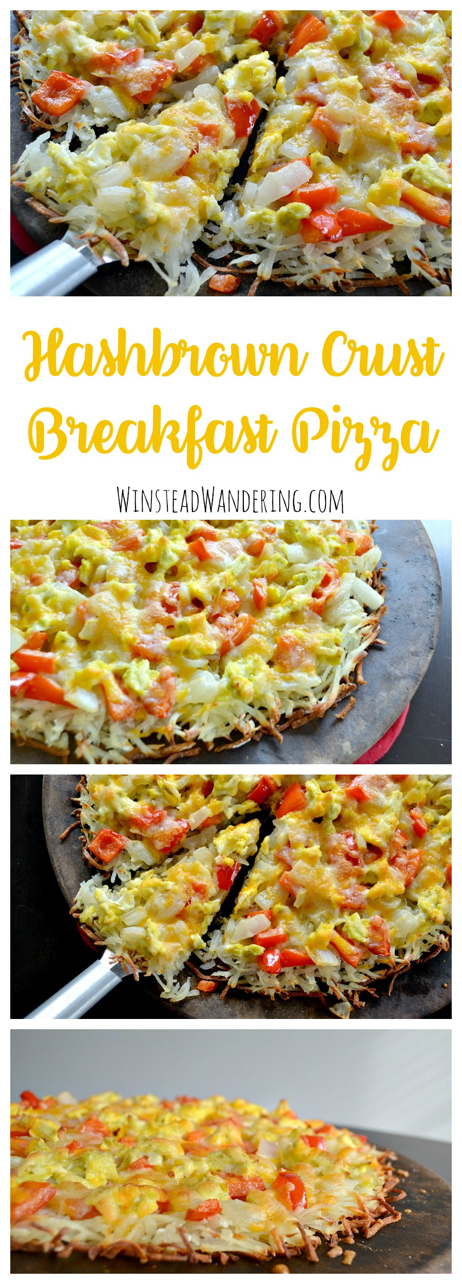 With a crispy crust, tender veggies, fluffy scrambled eggs, and plenty of melted cheese, this Hashbrown Crust Breakfast Pizza is perfect any time of day.