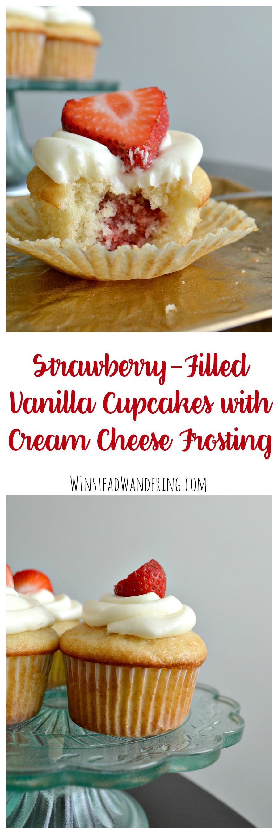 What happens when you combine homemade strawberry filling, moist vanilla cupcakes, and decadent cream cheese frosting? You get Strawberry-Filled Vanilla Cupcakes with Cream Cheese Frosting.