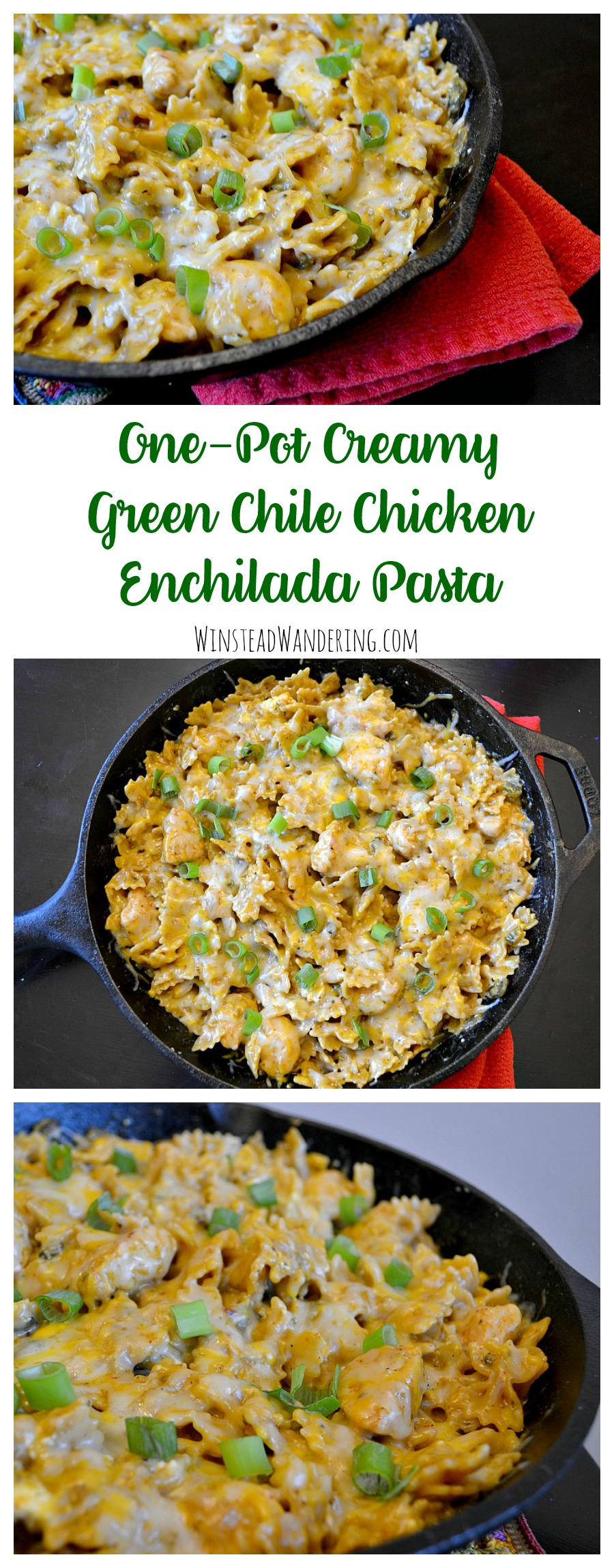 Tired of plain old enchiladas? Got leftover sauce? One-Pot Creamy Green Chile Chicken Enchilada Pasta is a surefire way to break out of a rut and please a crowd.