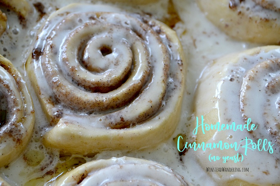 You don't have to choose between popping open a can or spending half your day tending to dough. Packed with gooey filling, smothered in rich glaze, and made without yeast, Homemade Cinnamon Rolls are ready to enjoy in under an hour.