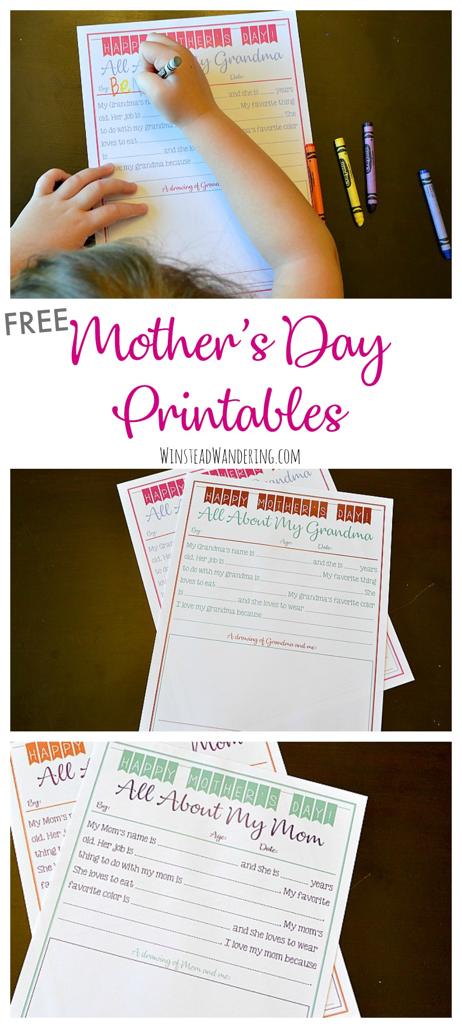 picture about All About My Grandma Printable known as Free of charge Moms Working day Printables (for grandma, as well!) Winstead